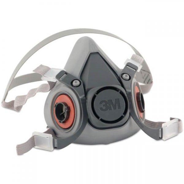 מסכת חצי פנים גומי טבעי 3M 6200 לשימוש עם 2 מסננים-min