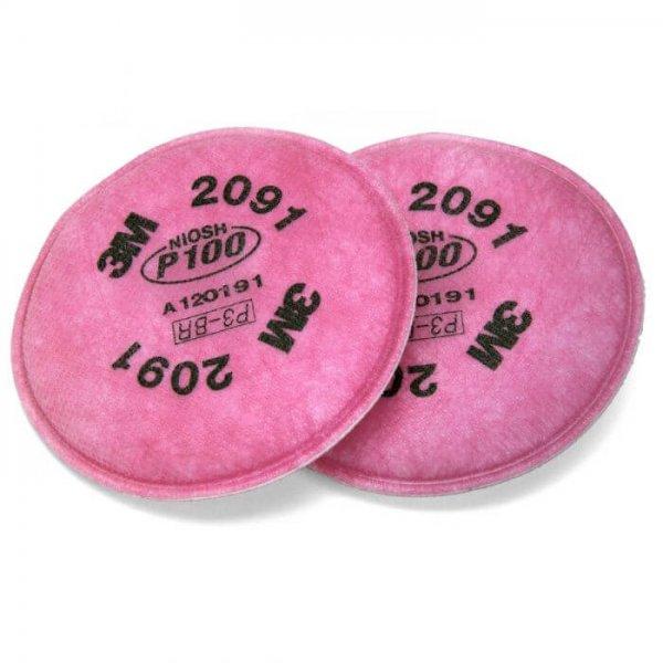 מסנן פד לאבק וחלקיקים 3M-2091 P100 (מקביל P3)-min למסכות נשימה של שלוש M