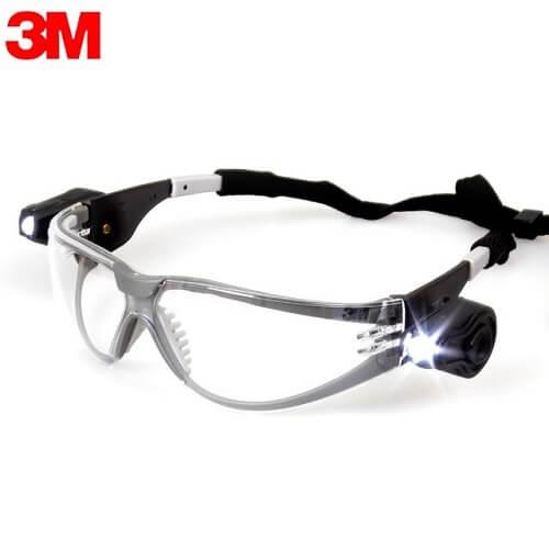 משקפי מגן עדשה שקופה עם נורות LED דגם 3M 11356
