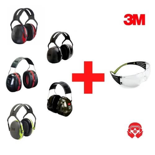 מבצע אוזניות נגד רעש ומשקפי מגן 3M